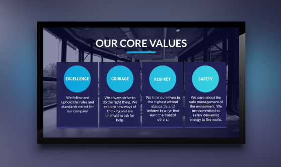 Company Values Grid