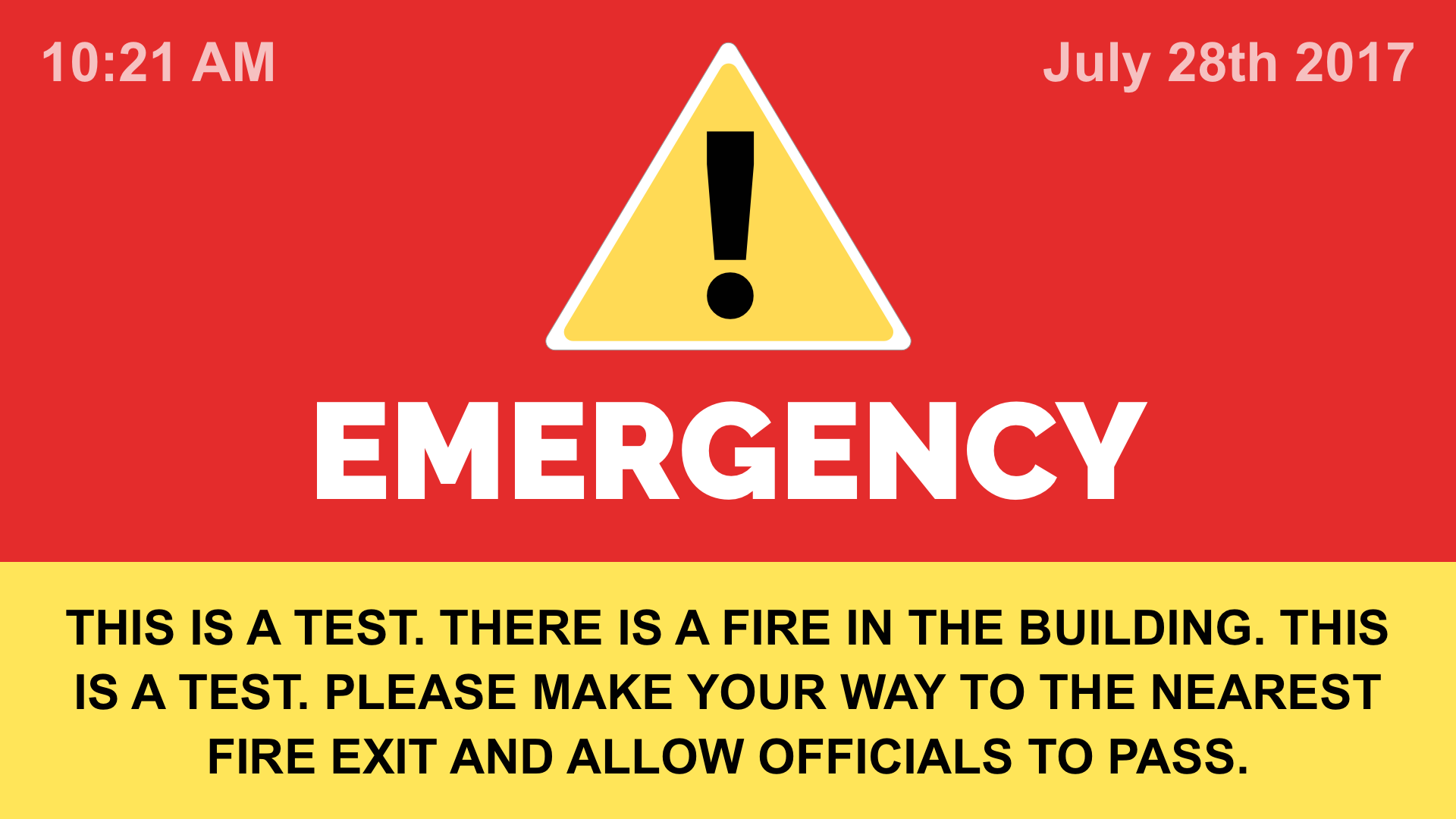 Emergency Alerts Digital Signage Template