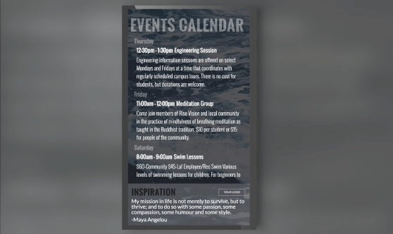 Events Calendar Portrait