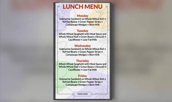 Weekly Menu Portrait