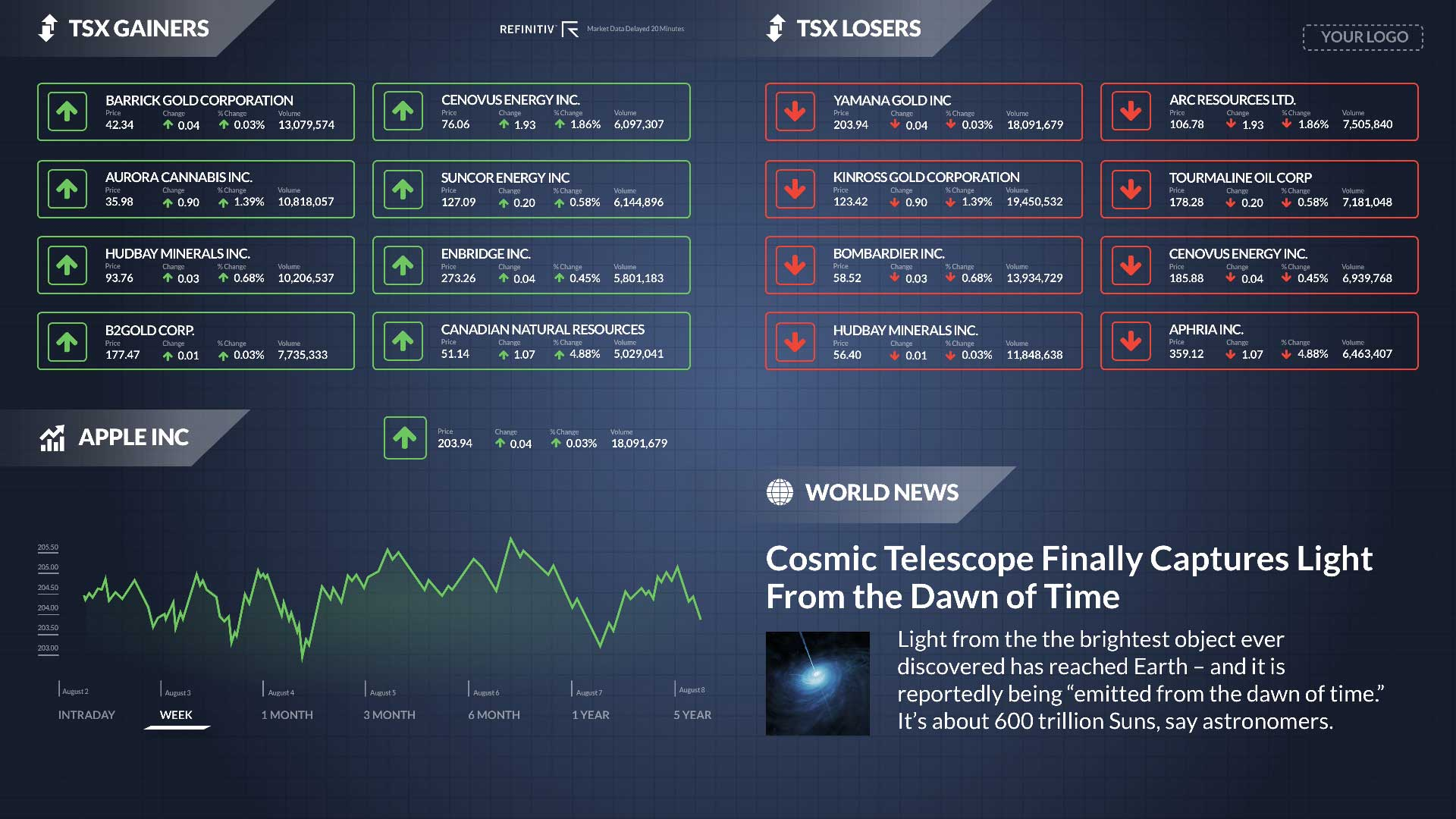 TSX Gainers Losers Zoned - Not Ticker Digital Signage Template