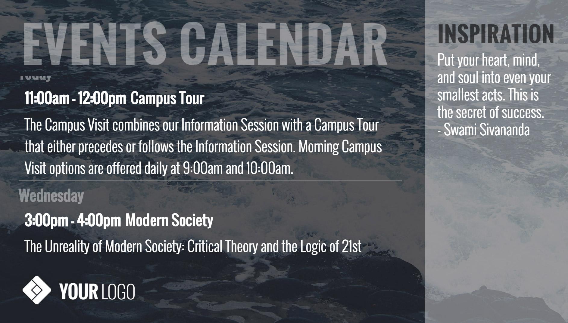 Events Calendar Digital Signage Template