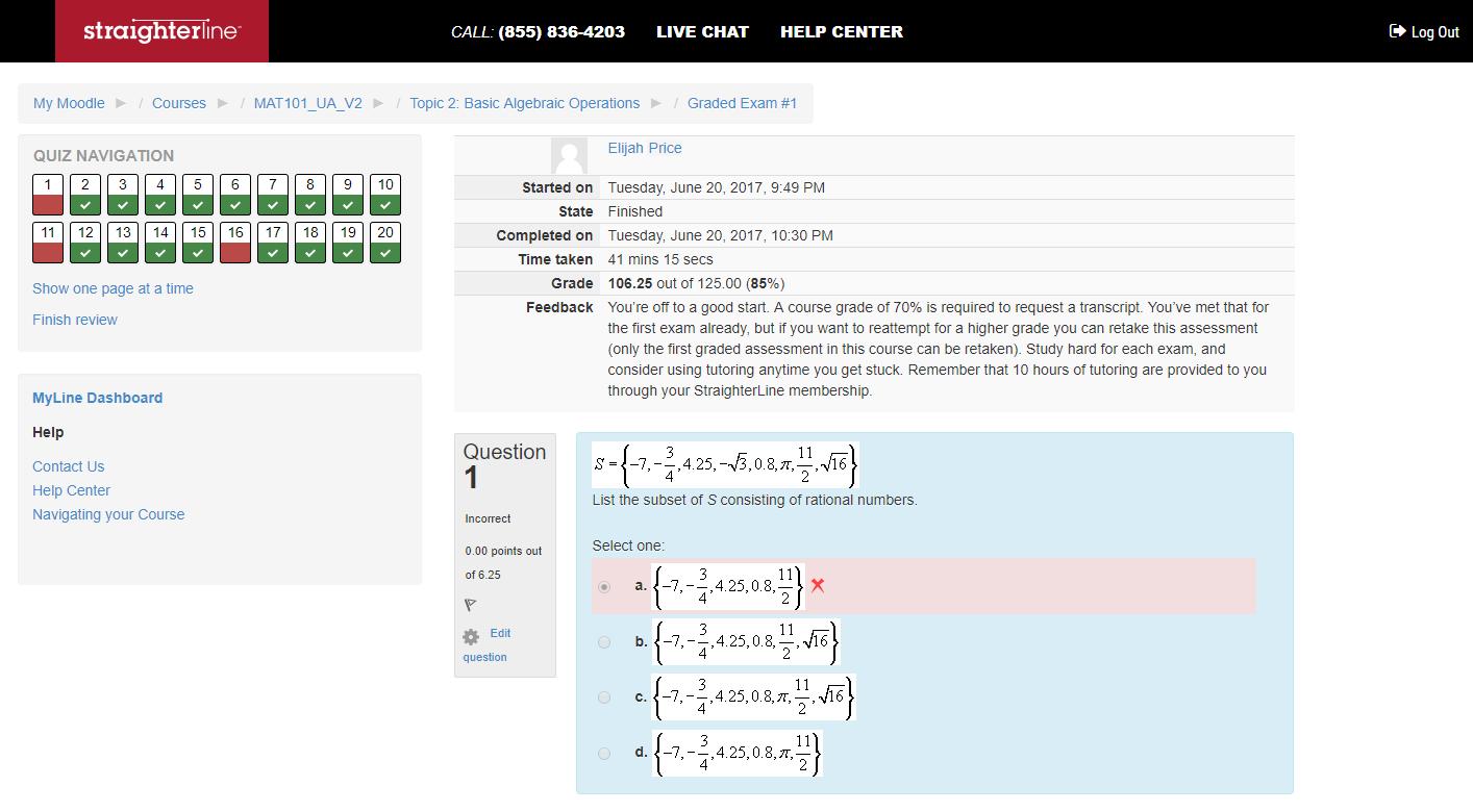StraighterLine exam review example