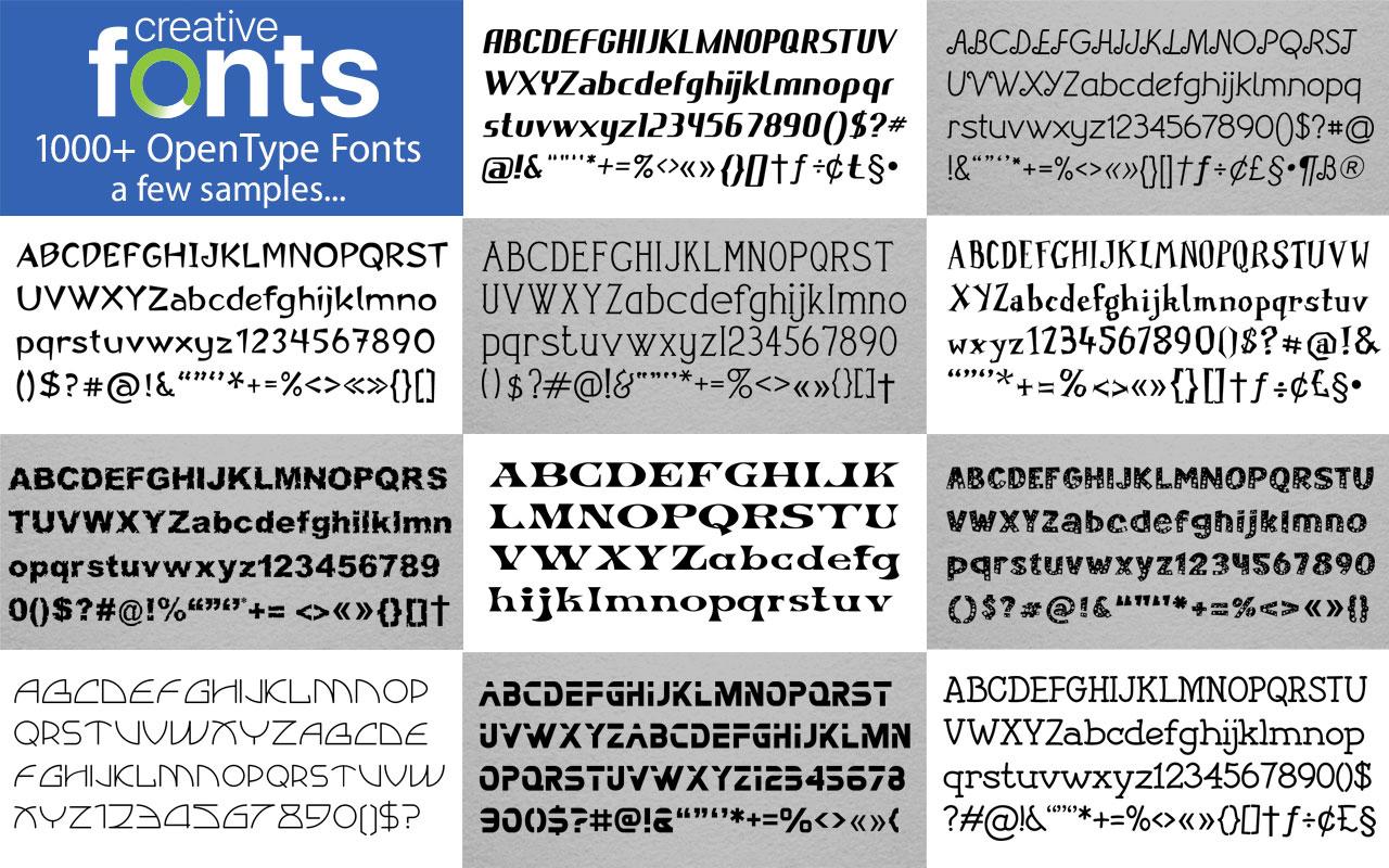 Creative Fonts - 100 Blue sample 1