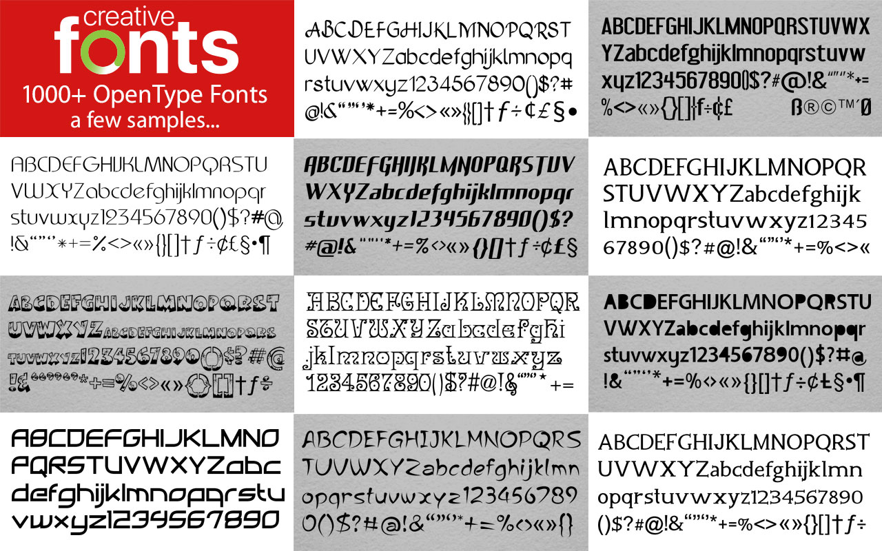 Creative Fonts - 1000 Red samples 1