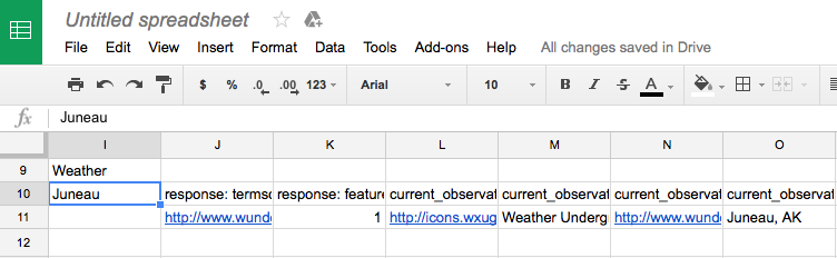 without specifying any weather conditions in the json path the weather data for a particular city in your google sheets will look like this with many more
