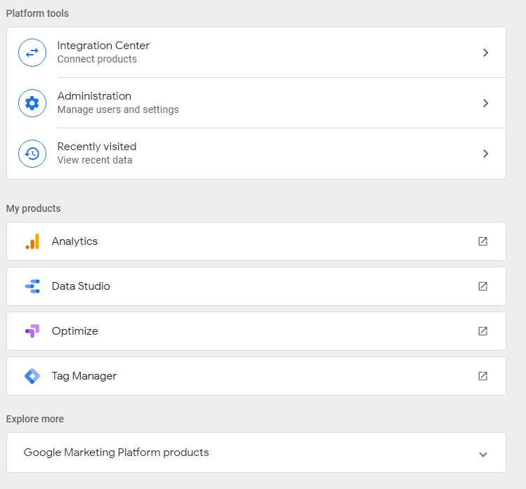 Google Marketing Platform interface