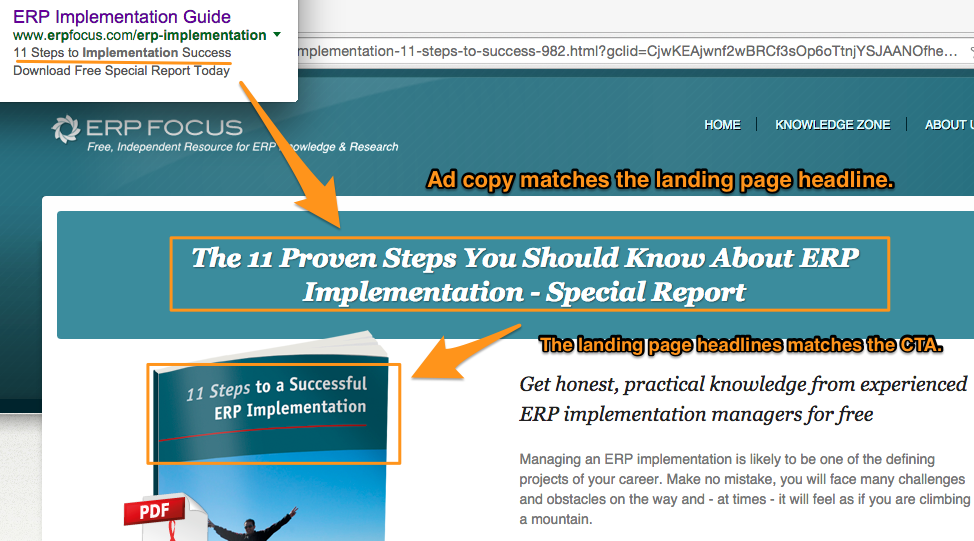 message matching: ad copy to landing page