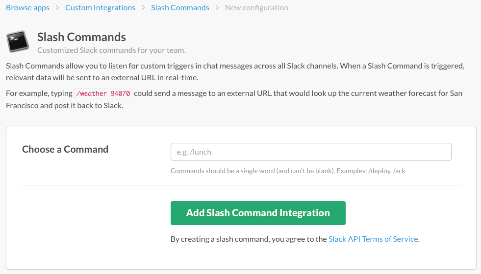 Slash commands on Slack