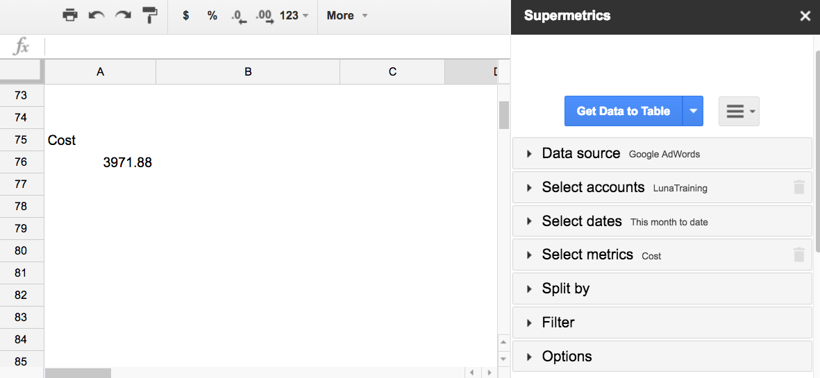 Supermetrics for Google Sheets sidebar