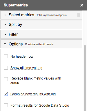Google Search Console combine new results with old checkbox
