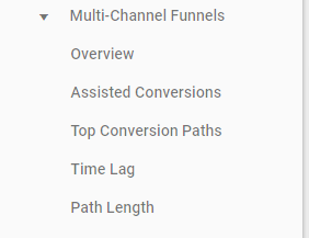 multi-channel funnels menu