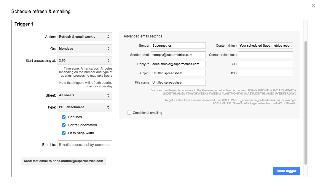 We've added scheduled refreshing & emailing to Supermetrics for Google Docs