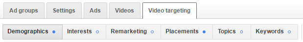 video targeting tab on YouTube