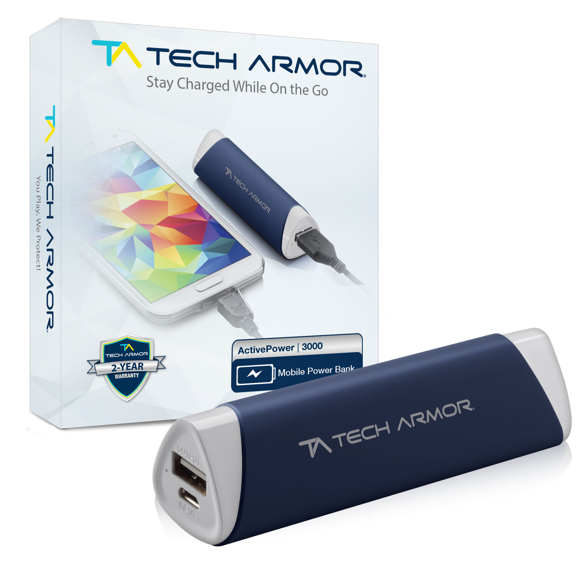 tech armor activepower 3000mah external battery portable usb power bank ebay. Black Bedroom Furniture Sets. Home Design Ideas