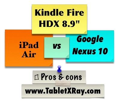 Kindle Fire HDX 8.9 vs Nexus 10 vs iPad Air