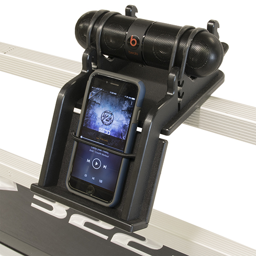 Pontoon rail-mount speaker and phone holder