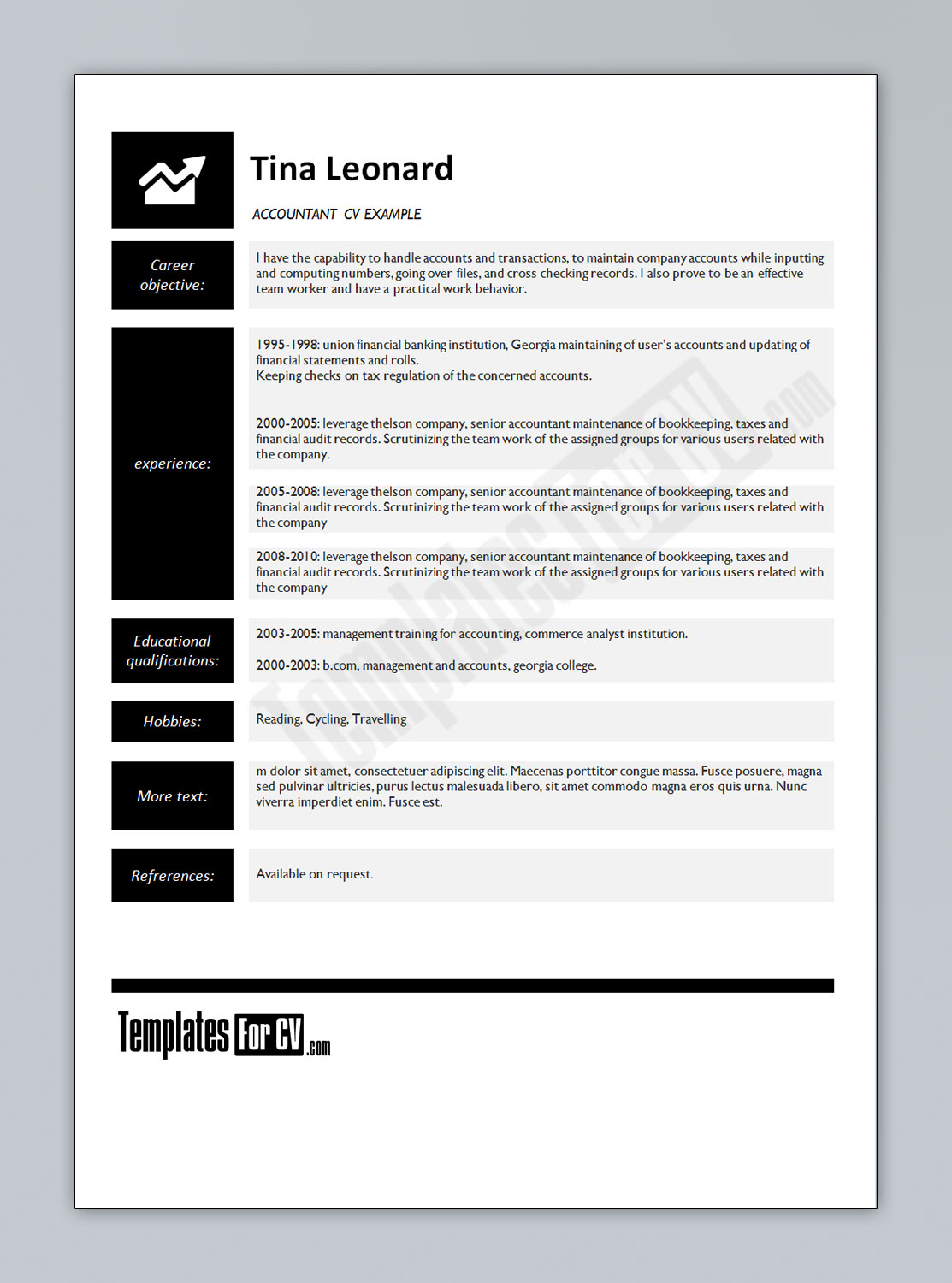 CV Resume Template. .Resume About Me Examples