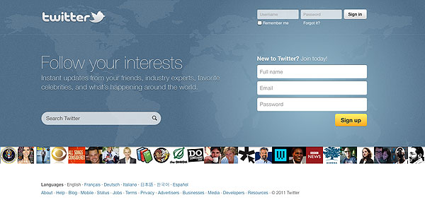 current homepage for Twitter