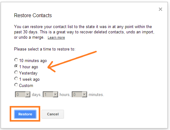 restore gmail contacts
