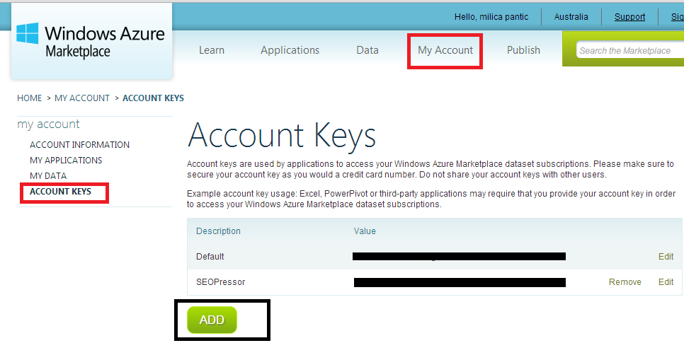 Bing Search API Key