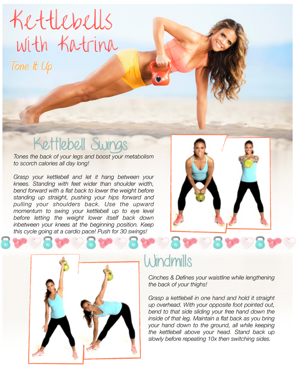 Clean image throughout printable kettlebell workouts