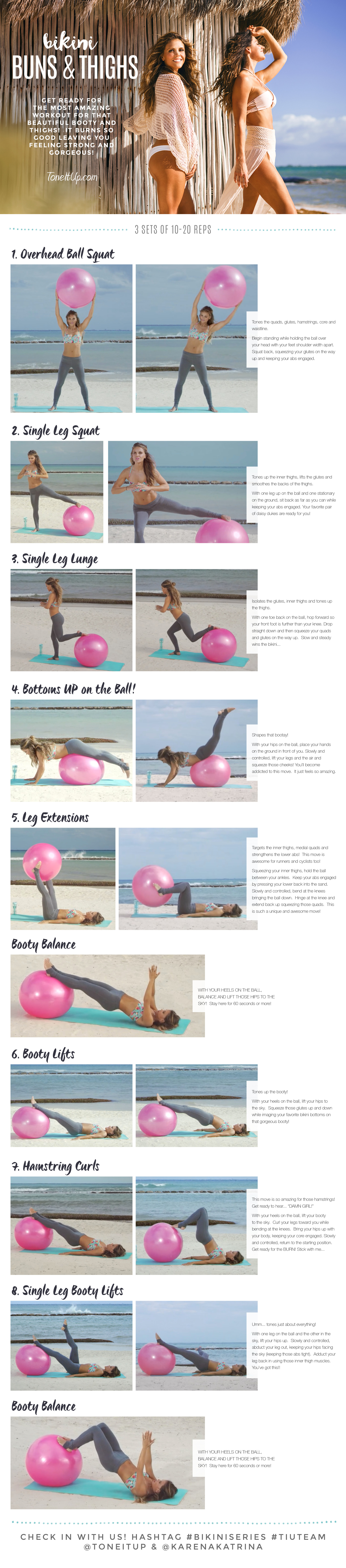 graphic about Printable Exercise Ball Workouts named Refreshing Exercise routine: BIKINI Buns Thighs! #BIKINISERIES -