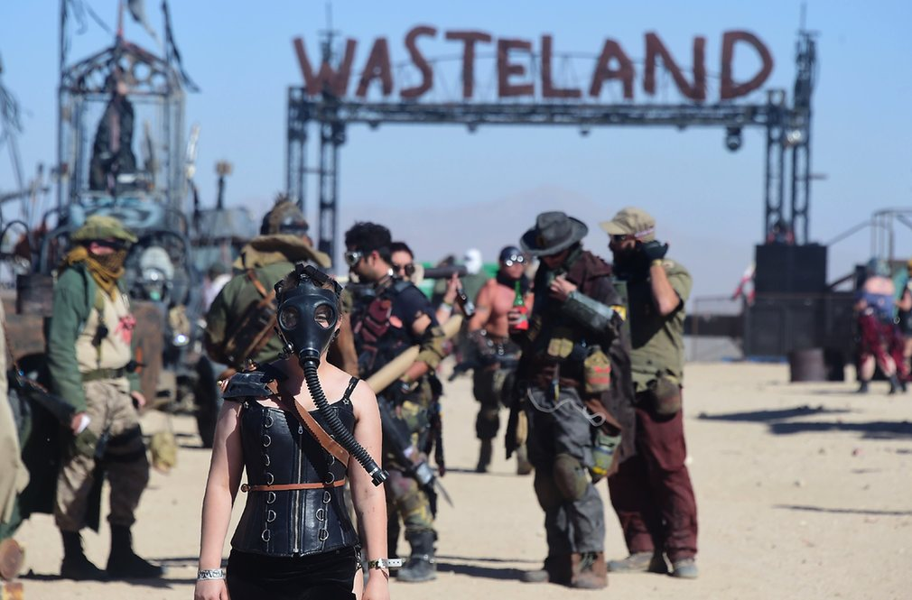Festivalgoers attend the first day of the post-apocalyptic Wasteland Weekend in the high desert community of California City in the Mojave desert Photograph: Frederic J BrownAFPGetty Images