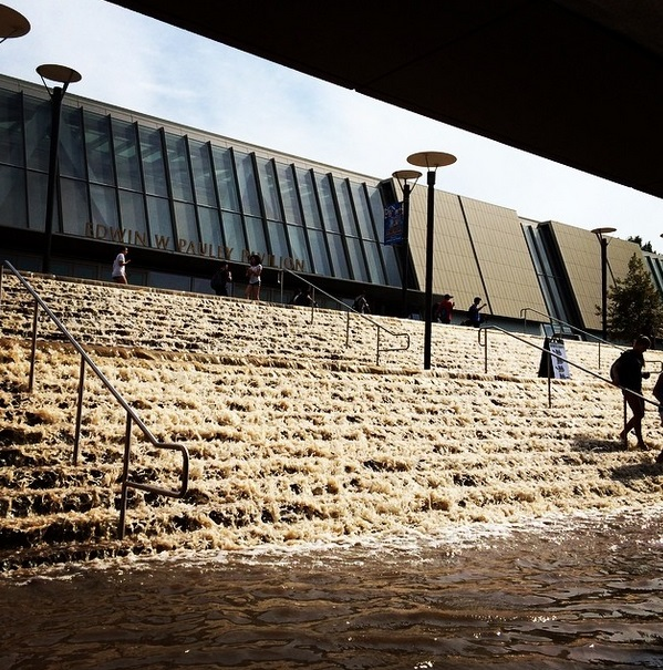 The UCLA campus floods after a water main broke, covering the campus with over 20 million gallons in (fresh) water