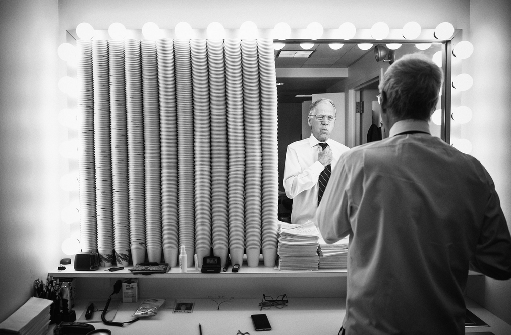 "David Letterman dressing for a taping of ""Late Show"" Each cup to the left represents a completed show"