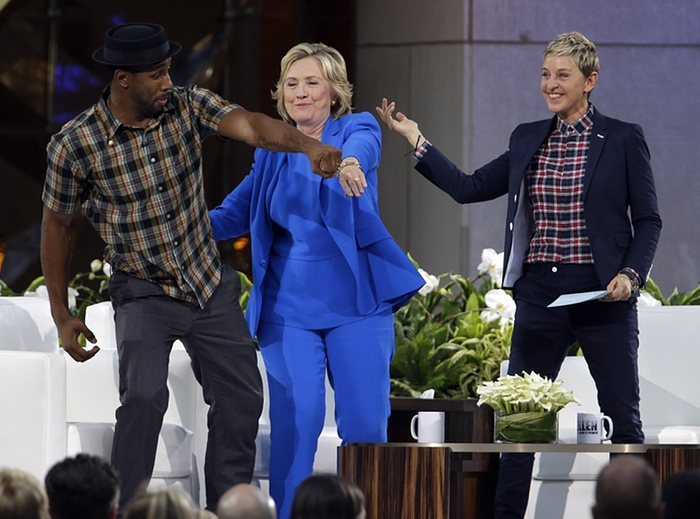Democratic presidential candidate Hillary Clinton, centre, dances with DJ Stephen 'Twitch' Boss and Ellen DeGeneres during a break in a recording of The Ellen DeGeneres Show Photograph: Mary AltafferAP