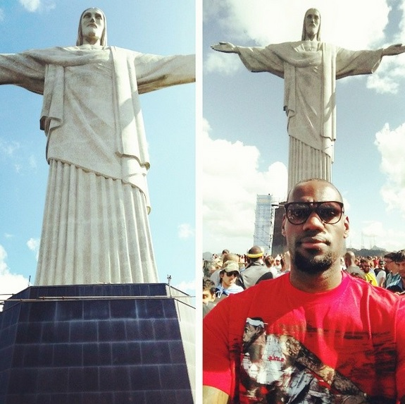 LeBron James snaps a selfie with the Christ The Redeemer monument in Rio
