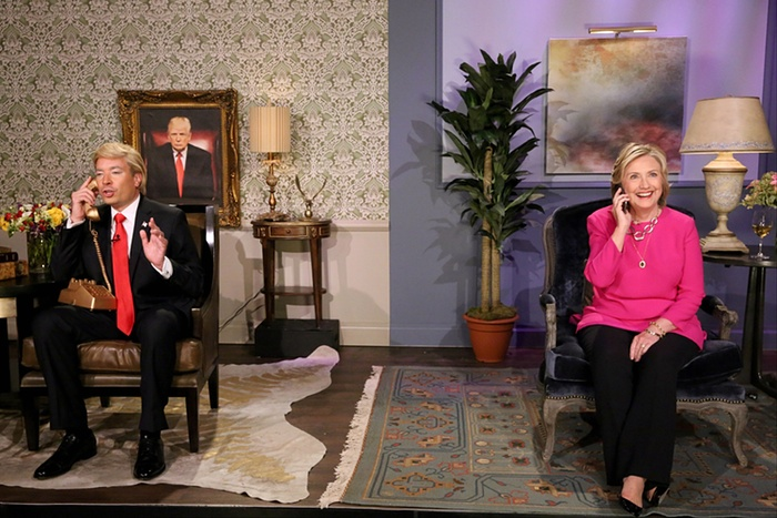 Jimmy Fallon, portraying Donald Trump, and Hillary Clinton appear in a skit during the recording of The Tonight Show Photograph: Douglas GorensteinAP