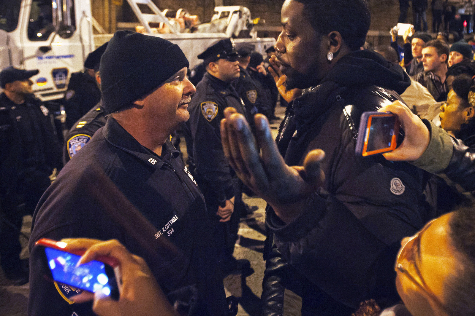 People protesting in New York argue with police