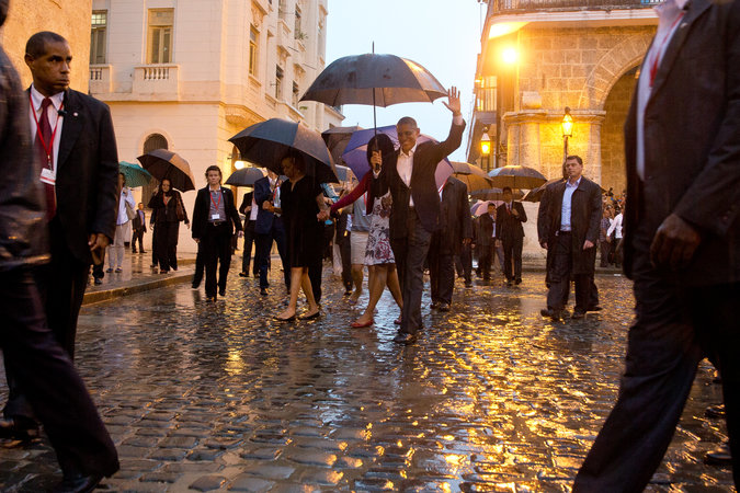 The president and Michelle Obama in Old Havana on Sunday