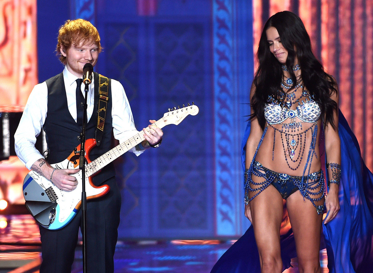 Ed Sheeran enjoying himself at the Victoria Secret Show