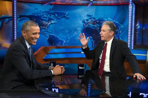 Obama and Stewart joke about current affairs on Obamas last appearance on The Daily Show
