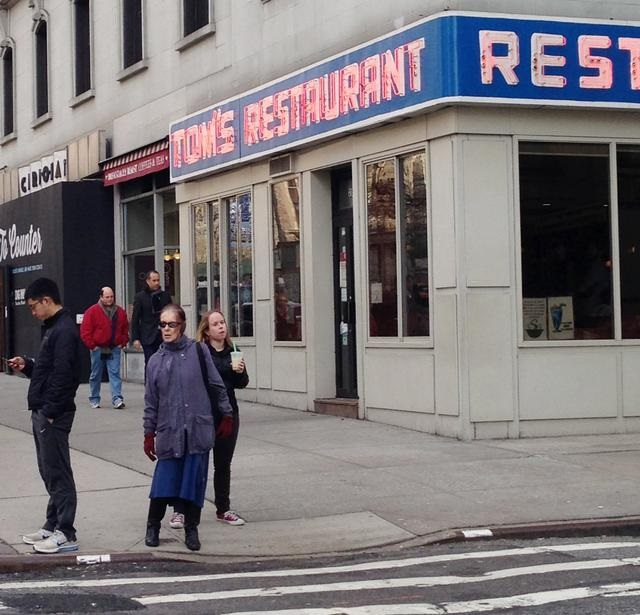 Jerry Seinfeld and George Costanza (Jason Alexander) walk into Toms Restaurant in New York