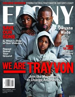 NBA star Dwyane Wade poses with his sons on the cover of Ebony Magazine