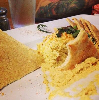 Half off Spinach Artichoke Dip, Hummus