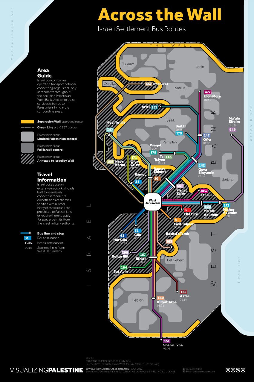 Across the Wall: Israeli Settlement Bus Routes