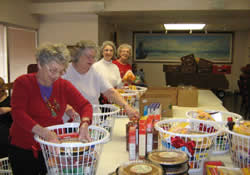 Assembling Christmas baskets is one of the ways First United Methodist Church in Corpus Christi is in ministry with senior adults in the church and community who are living on lower incomes.