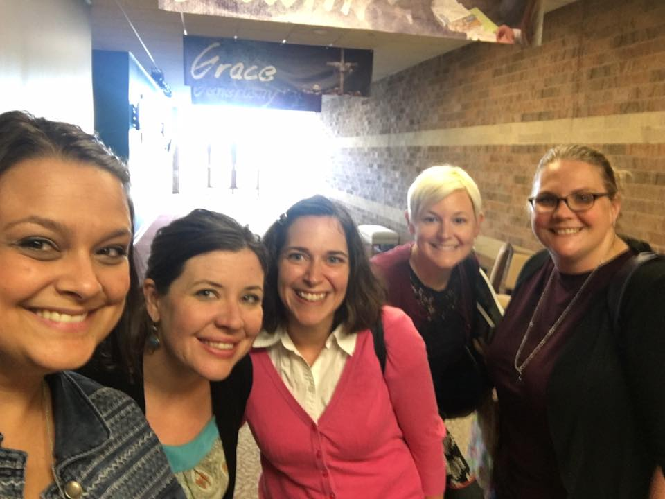 Amy Shreve (center) spends time with her covenant group. She is coordinator of higher education and campus ministry for the Illinois Great Rivers Conference. Photo courtesy of Amy Shreve