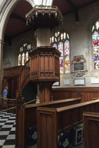 John Wesley preached from the pulpit of St. Mary's Church, Oxford.
