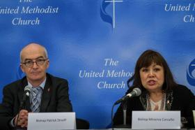 Bishops Streiff and Carcaño at a press conference on the World Wide Nature of the Church