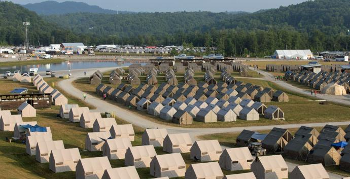 Rows of tents house Boy Scouts, staff and volunteers at the 2017 National Scout Jamboree at the Summit Bechtel Reserve in Glen Jean, W. Va. Photo by Mike DuBose, United Methodist Communications.