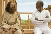 Morgan Freeman (right) as God, with Steve Carrell discuss the construction of the Ark in Evan Almighty (2007). Press photo courtesy of Universal Pictures