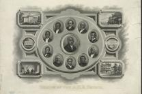 Bishops of the African Methodist Episcopal Church. Portraits of Richard Allen and other African Methodist Episcopal (A.M.E.) bishops, surrounded by scenes including Wilberforce University, Payne Institute, missionaries in Haiti, and the A.M.E. church book depository in Philadelphia. Image from Library of Congress, LC-DIG-pga-03643.