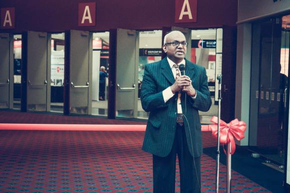 GCFA General Secretary  Moses Kumar at the Exhibit Hall Opening