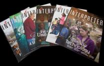 Image shows 2014 covers of Interpreter Magazine. Photo by Mike DuBose, United Methodist Communications.